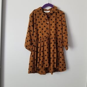 H&M Brown and Black Heart Button Up Dress